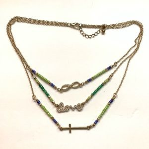 LOVE BEADED GOLD CROSS MULTILAYER NECKLACE